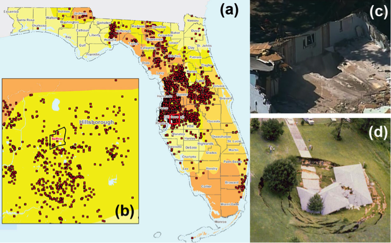 sinkhole activity map florida Fiu Geodesy Lab
